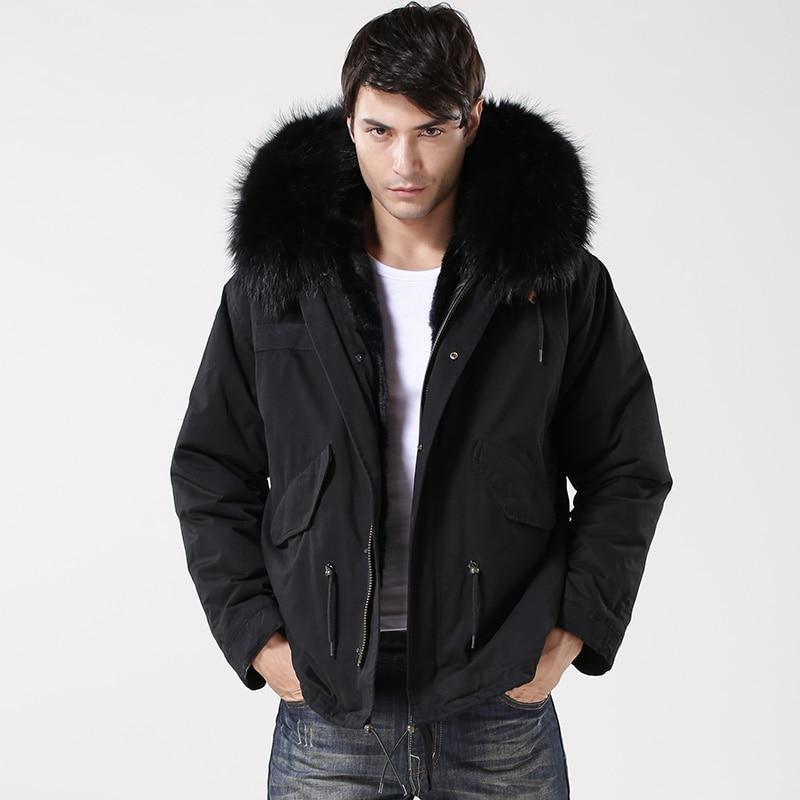 Pure black gentlemen short style man style parka cool black beautiful coat