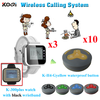 Order Taking System K-300plus+H4-GY For Restaurant 10pcs Waterproof Button And 3pcs Watch Pager Used In Golf and Country