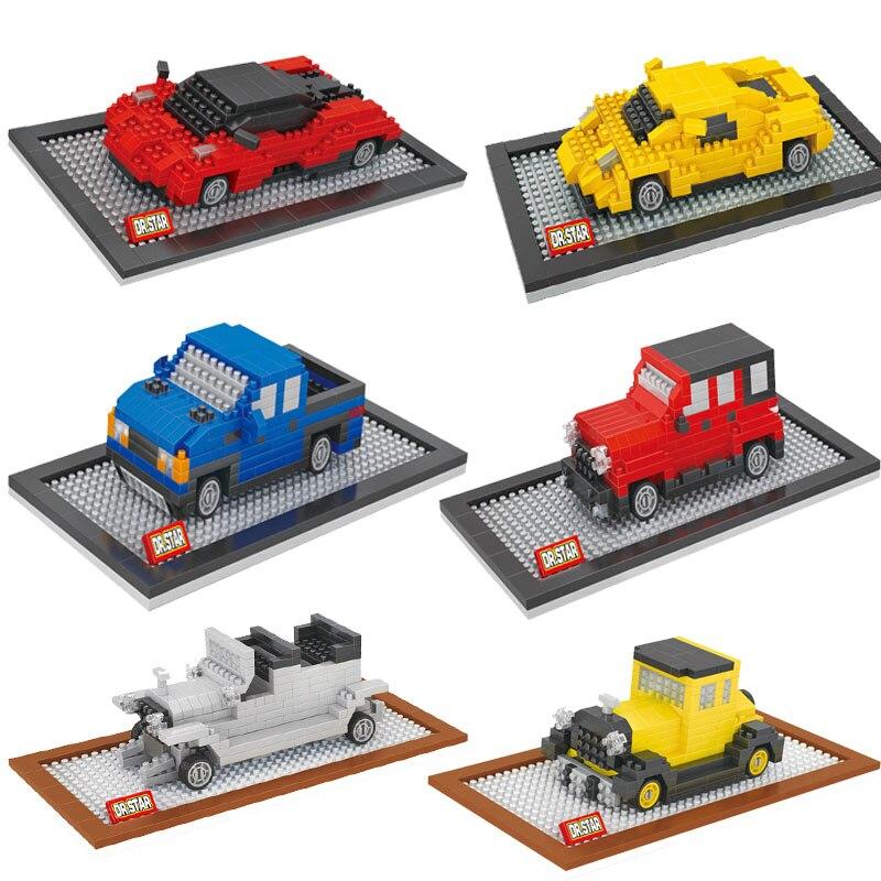 small model car building toys car model diy micro bricks small auction figures boy gift famous car juguetes kids toys