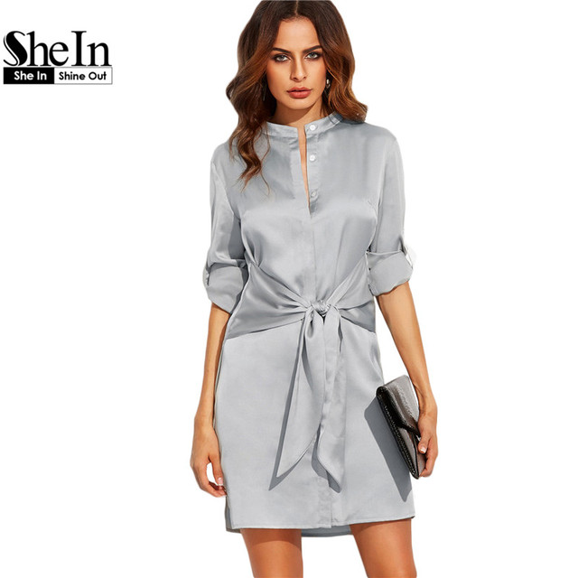 SheIn Elegant Autumn Dress Short Dresses For Women Autumn Ladies Plain Silver Round Neck Roll Up Long Sleeve Tie Waist Dress