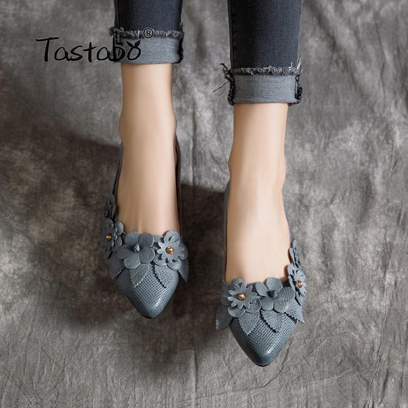 Zapatos de cuero genuino de Tastabo zapatos de mujer hechos a mano zapatos de tacón bajo zapatos de moda Simple diseño de calcomanía superior-in Zapatos planos de mujer from zapatos    1