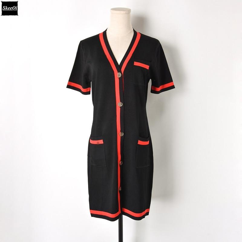 2018 New Runway Design Knit Sweater Dresses Women Short Sleeve Striped Pockets Knitted Casual Dress Summer Knitwear Vestidos