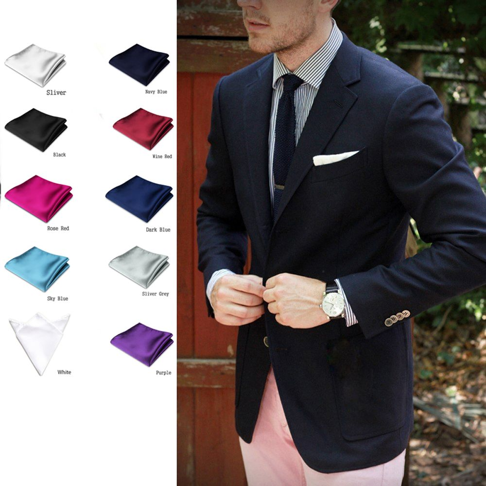 "Lot 9 Pieces 10/"" Men Silk Blend Pocket Square Handkerchief Wedding Rolled Edge"