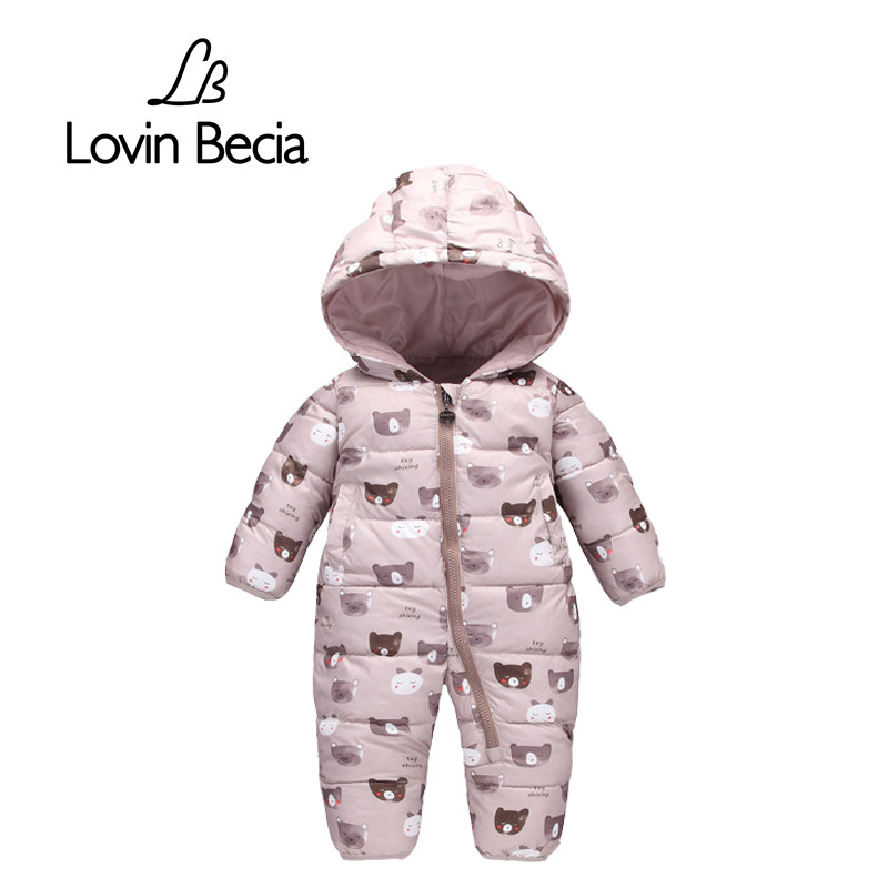 Lovinbecia Newborn Baby girls Rompers Winter Thick Warm toddler Hooded Jumpsuit Kids Outwear boys feathers cotton Clothing suit 2017 new baby rompers winter thick warm baby girl boy clothing long sleeve hooded jumpsuit kids newborn outwear for 1 3t