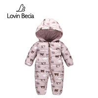 Lovinbecia Newborn Baby Girls Rompers Winter Thick Warm Toddler Hooded Jumpsuit Kids Outwear Boys Feathers Cotton