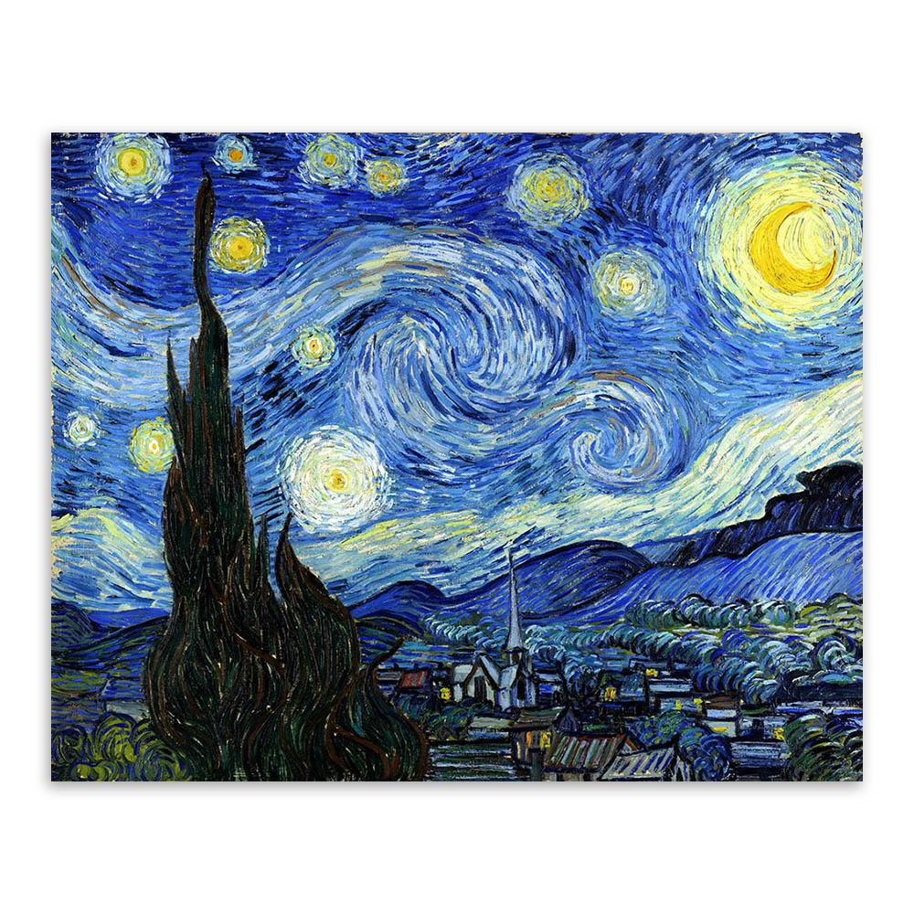 No Frame Canvas Painting Art Starry Night Vincent Van Gogh Famous ...