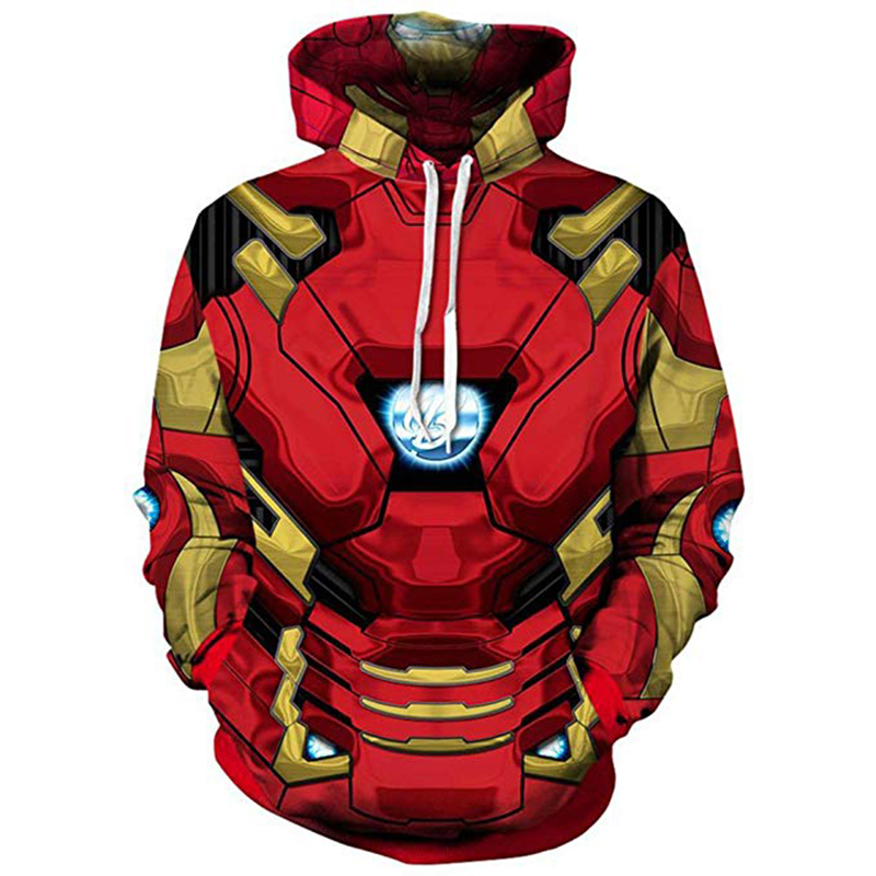 Tony Stark Hoodie Avengers Infinity War Cosplay Costume Iron Man 3D Print Sweatshirts Superhero Jackets Tops Coats