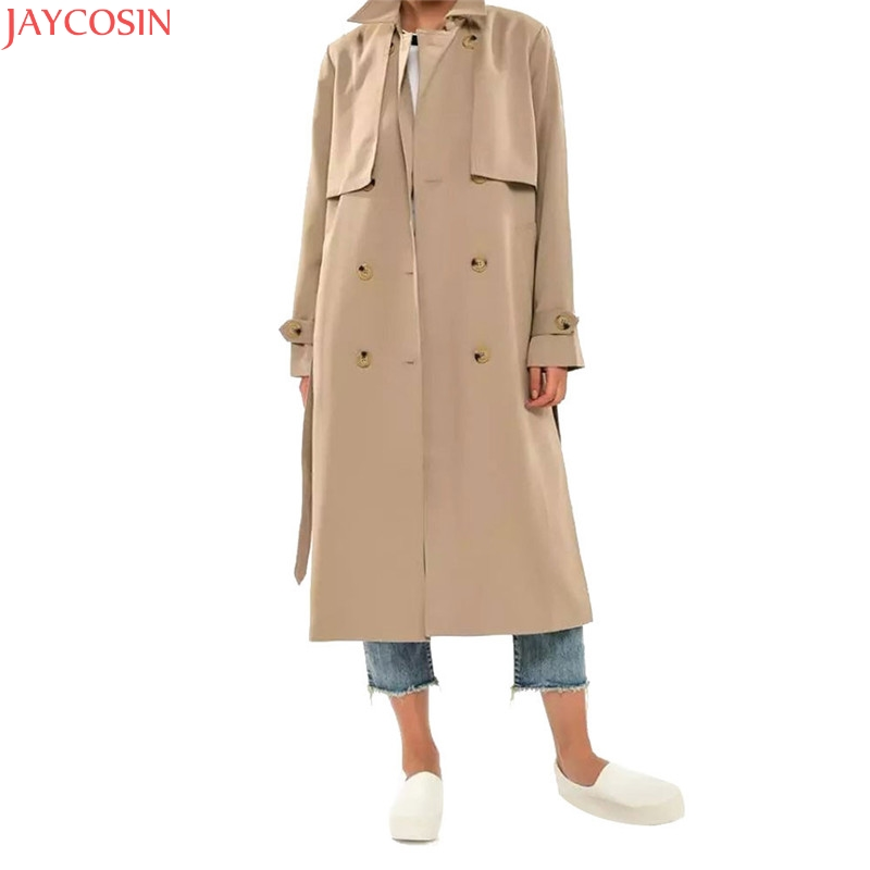 JAYCOSIN Khaki belt simple fashion women solid coat 2018 female autumn Chic turn down collar long   trench   coats 99#
