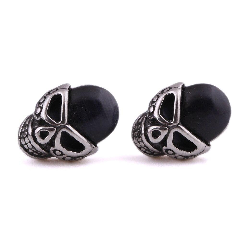 Punk Opal Stone Skull Stud Earrings Black Stainless Steel Skull Earrings For  Women Men(china