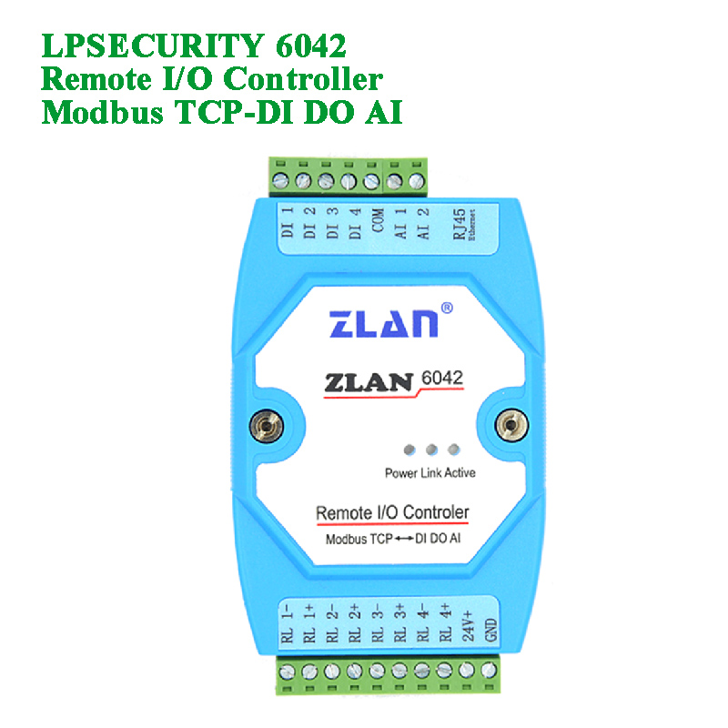 Remote Ethernet I/O Controller Ethernet Transmission Modbus TCP To RTU DI DO AI Digital Input Output Analog Switch ZLAN6042