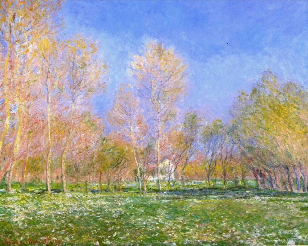 High quality Oil painting Canvas Reproductions Springtime in Giverny (1890) By Claude Monet Painting hand paintedHigh quality Oil painting Canvas Reproductions Springtime in Giverny (1890) By Claude Monet Painting hand painted