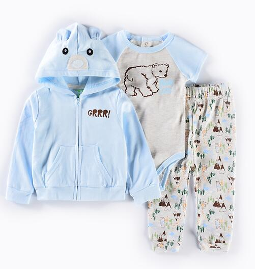 Spring baby clothing Set cotton baby boys girls clothes 3pcs suit infant coat+romper+pants Cute animal style jacket with cap