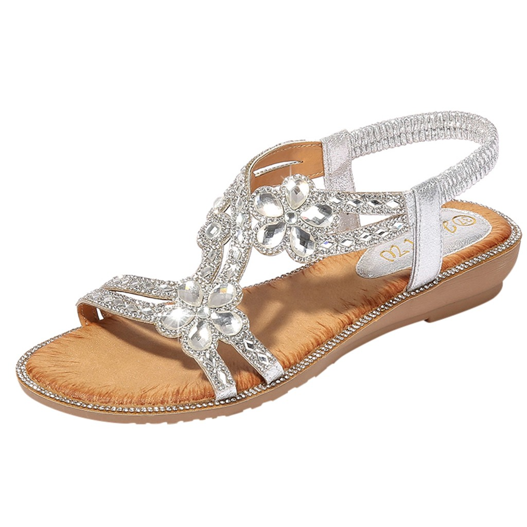 SAGACE Ladies Shoes Flat-Sandals Flower-Crystal Bling Sexy Summer Beach High-Quality
