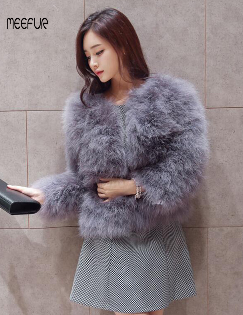 ed50d36ddc 2018 New Fashion Real Ostrich Fur Coats Womens Turkey Fur Solid Jackets  Popular Spring Autumn Outerwear LX00790-in Real Fur from Women s Clothing  on ...