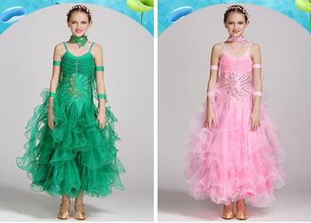Long Sleeves Standard Competition Ballroom Dance Dress Fo Girl Kids One Piece Child Modern/Waltz/Latin Dancing/Dancewear 38