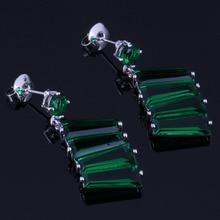 Silky Green Cubic Zirconia 925 Sterling Silver Drop Dangle Earrings For Women V0700