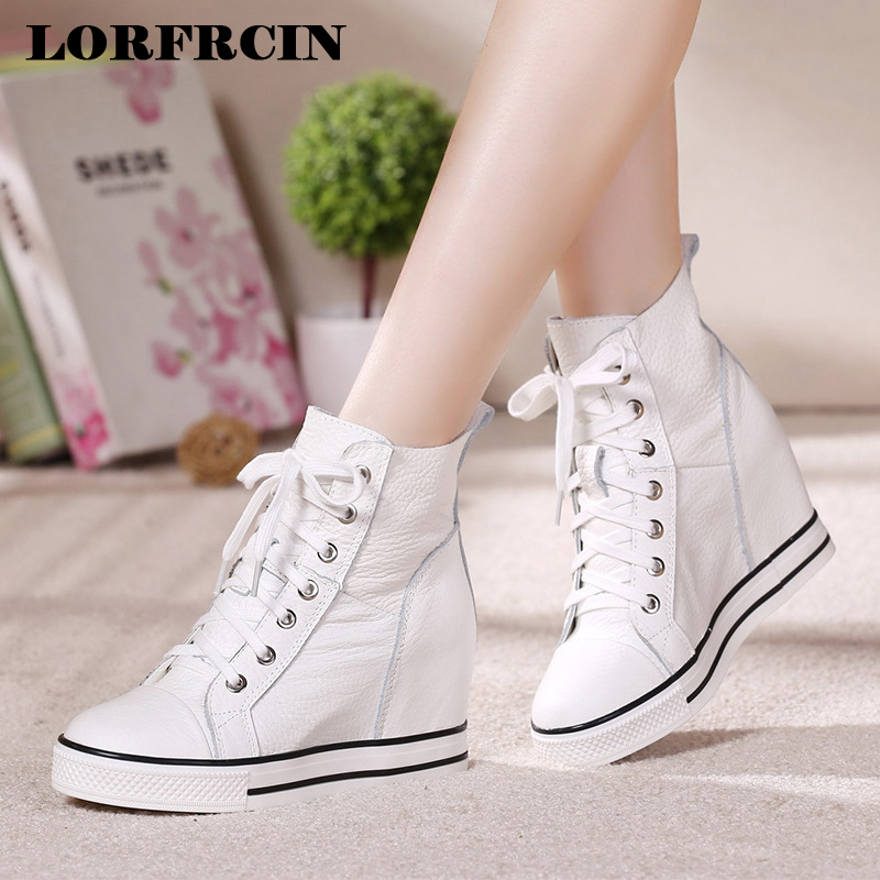 LORFRCIN Genuine Leather Ankle Boots For Women Height Increasing Platform Boots Casual Black White Sneakers Woman Shoes Autumn спот favourite studio 1 х e14 25 1246 1w