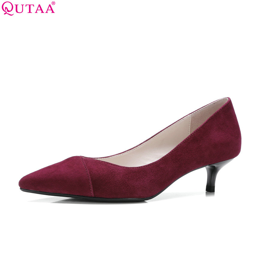 цены QUTAA 2018 Fashion Women Pumps Slip on Thin Heel Pointed Toe Women Shoes Casual All Match Kid Suede Ladies Pumps Szie 34-39