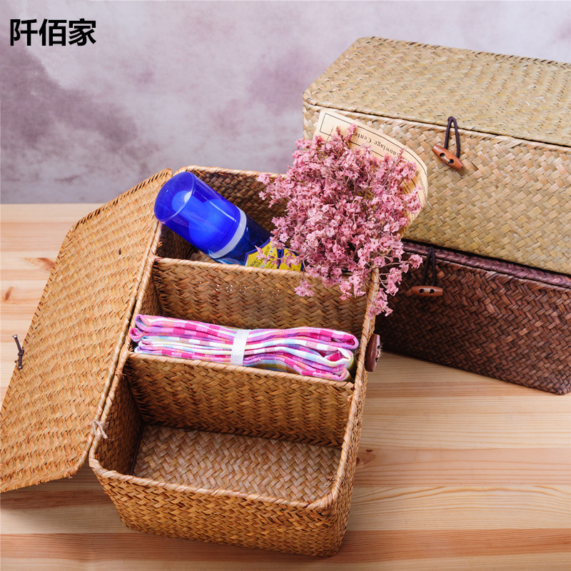 3 Grid Sisal Hand Woven Basket With Cover Desktop Jewelry Cosmetic Sundries Rattan Storage Container Holder