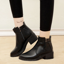 2019 New Fashion Women Boots Women Ankle Boots Med Heels Rubber Boots Casual Lady Shoes Black Winter Female Shoes Woman Footwear
