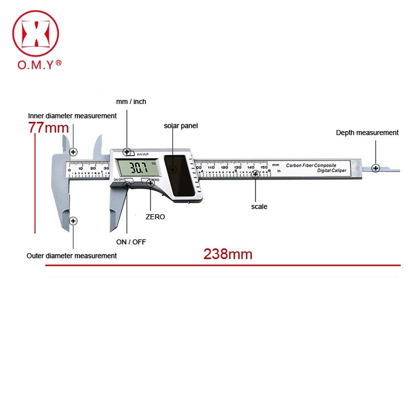 0 150mm 6 inch Solar Battery Digital Caliper Vernier Caliper LCD Vernier Gauge Micrometer measuring tool in Hand Tool Sets from Tools