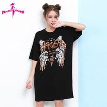 Dress 2017 Summer Dresses Casual Half Sleeve Loose Rivet Tshirt Dress Woman Euro Style Plus Size Black Midi Dress Vestido