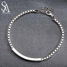 4532153f4acc SA SILVERAGE barra pulseras y brazaletes para hombres mujeres 925 de plata  de ley 3mm pulsera cadena gruesa joyería Fina 2019