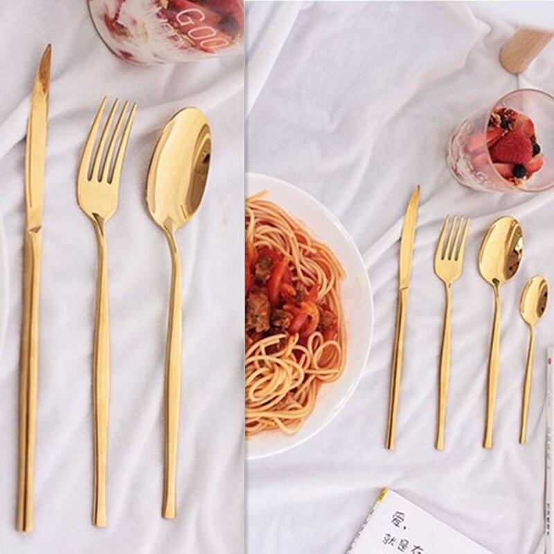 Купить с кэшбэком KuBac Hommi 24Pcs Stainless Steel Yellow Gold Dinnerware Cutlery Fork Knife Scoop Tableware Set Gift