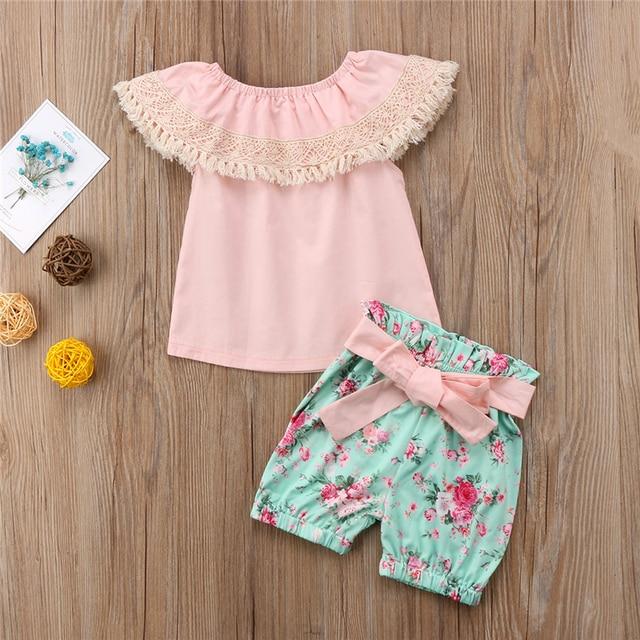 eefb49af7 Girls Clothes Set 2018 New Tassels Lotus Leaf Kids Baby Girls Lace ...