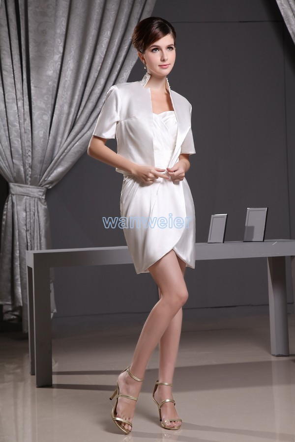 Livraison gratuite 2015 l'arrivée de nouveaux chérie custom hot short mini sexy mère de la mariée robes avec manches courtes veste