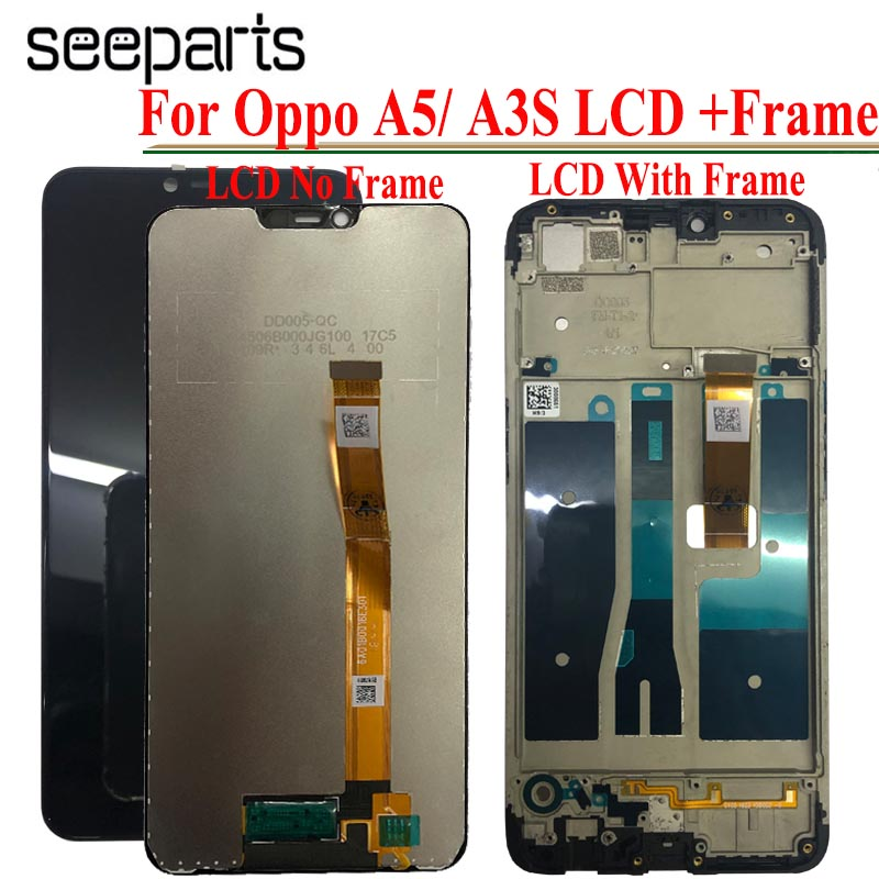 6.2 inch <font><b>LCD</b></font> For <font><b>OPPO</b></font> A3S CPH1803 <font><b>LCD</b></font> Display Screen Touch Panel Digitizer sensor with frame Assembly For <font><b>OPPO</b></font> <font><b>A5</b></font> Full Display image
