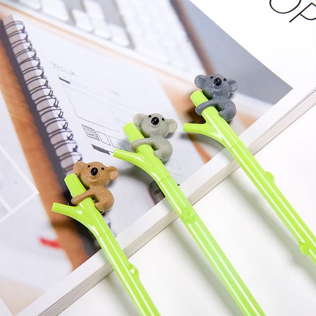 ballpoint cartoons 0.5mm Creative Cute Koala Branches Black Ink Gel Pen Signing Pen kawaii Writing Tool pencil A301222