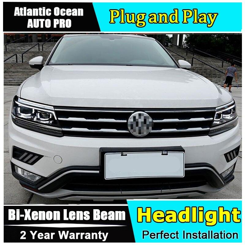 Авто часть Стиль светодиодный фара для VW Tiguan светодиодный фар 2017 2018 для Tiguan drl H7 hid Би ксеноновые линзы Ангел глаз ближнего света