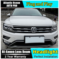 Auto part Style LED Head Lamp for VW Tiguan led headlight 2017 2018 for Tiguan drl H7 hid Bi Xenon Lens angel eye low beam