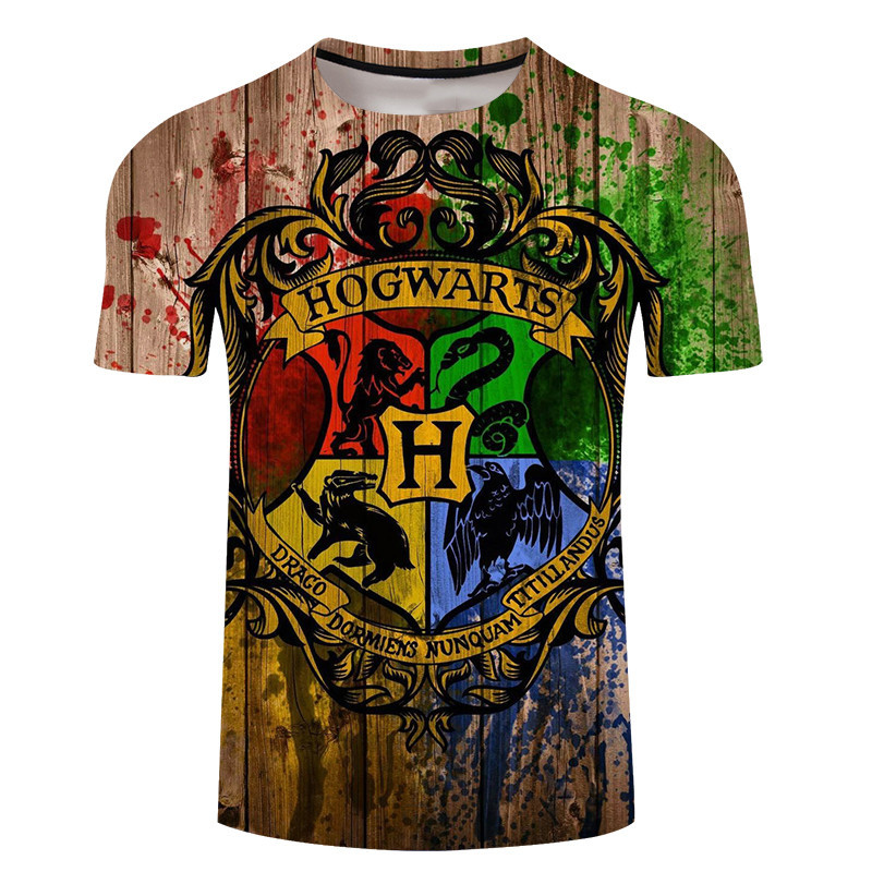 Hogwarts Slytherin Magic School T Shirt Men Boy Fashion Black Short Sleeve Couple Ink Printing T Shirts Summer T Shirt Dropship