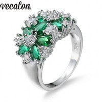 Vecalon Fashion Women Ring Flower Jewelry Green Stones Simulated Diamond Cz 925 Sterling Silver Wedding Band