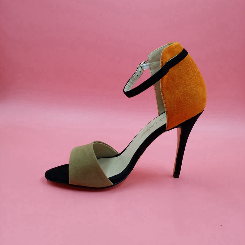 Gray And Orange Women Ankle Strap Sandals Suede Buckle Strap Open Toe Thin High Heels Concise For Party Female Shoes two part ankle strap suede heels
