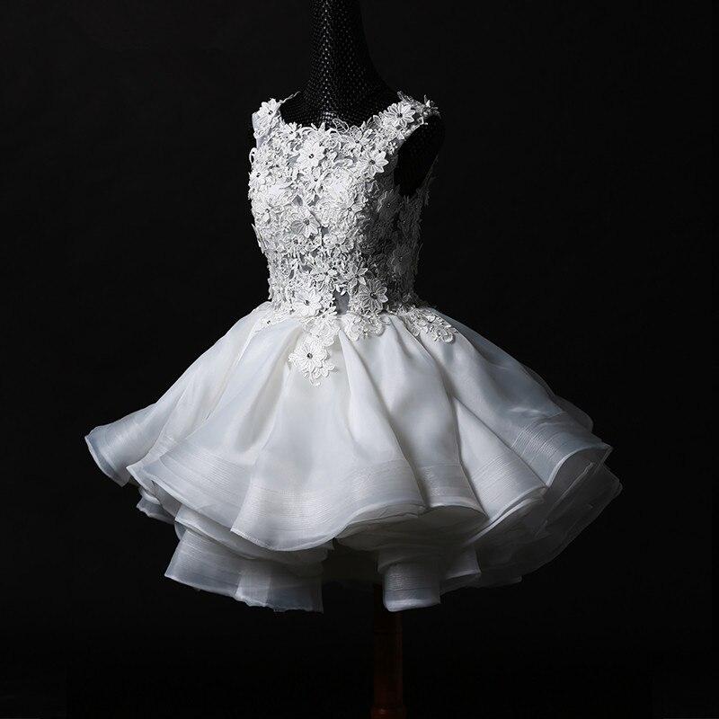 sexy see through button 2018 lace appliques short organza ruffles brides Fashion vestidos ball bridal gown   bridesmaid     dresses