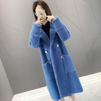 Plus Size Woolen Long Winter Warm Overcoat Spring Coat Knitted Cardigan Solid V-neck Trench Coat For Women Mink Artificial Mink