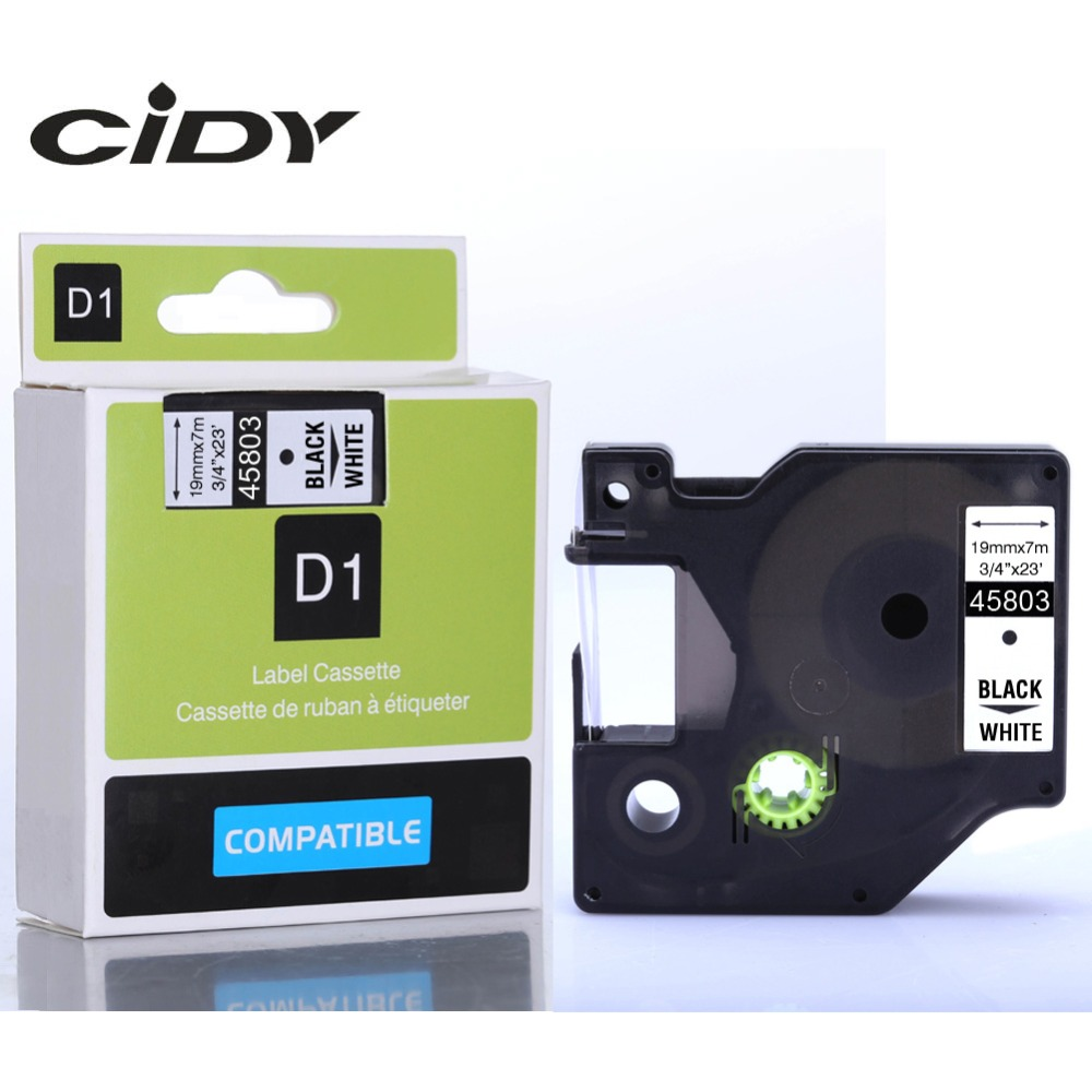 CIDY 1pcs Compatible Dymo D1 19mm Label Tape 45803 Black on White Label Ribbons for Dymo Label Manager 160 280 210 30pk dymo 91201 letratag white plastic label dymo lt91201 label 12mm 4m black on white label tape