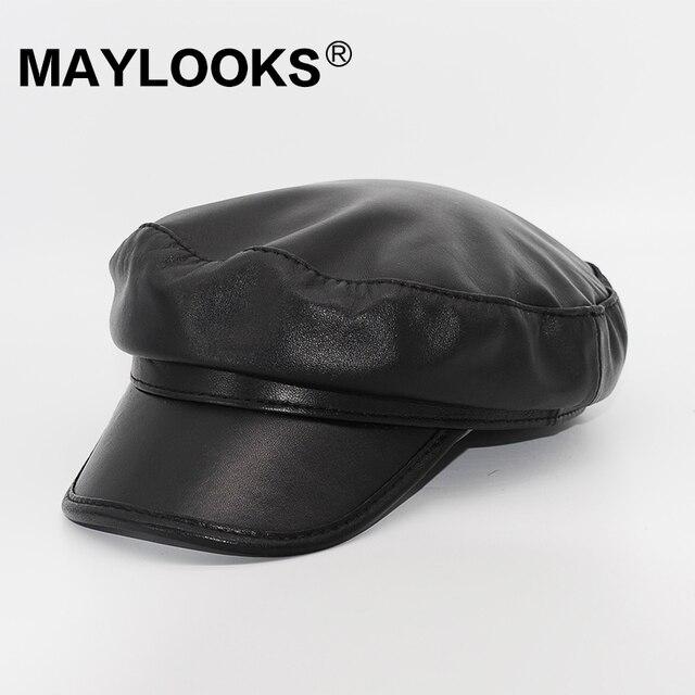 b82303a1ef7c8 2018 Adult Leather Sale Women Berets Cap Spring autumn Hat For Sheepskin  Vintage Solid Colors Soft Ladies Fashion Classic Cs51