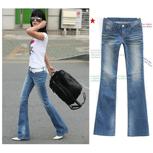 Online Shop Women boot cut slim butt-lifting jeans pants water ...