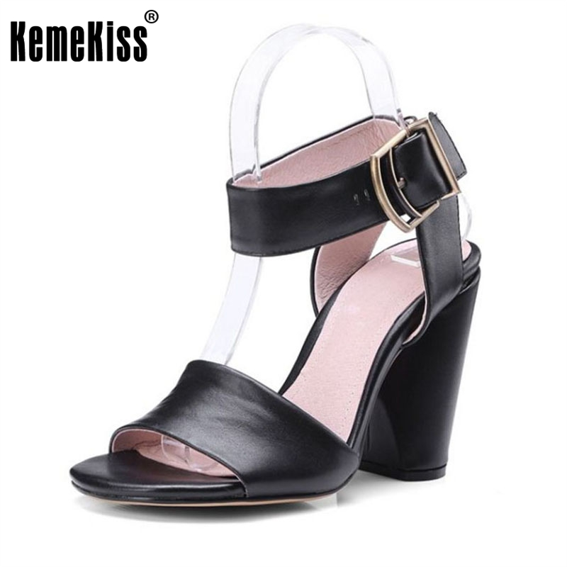 KemeKiss Simple Office Lady Genuine Leather High Heel Sandals Ankle Strap Open Toe Thick Heel Sandals Summer Shoes Size 34-39 genuine leather chunky heel gladiator ankle wrap women summer sandals 2015 new lady fashion peep toe shoes size 34 39 sxq0921