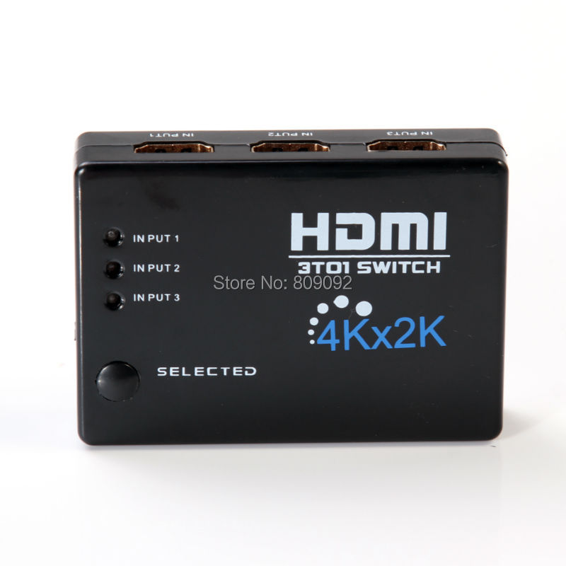 3in 1out 4K*2K HDMI Switch Hub Splitter Switcher Adapter HD For HDTV + IR Remote
