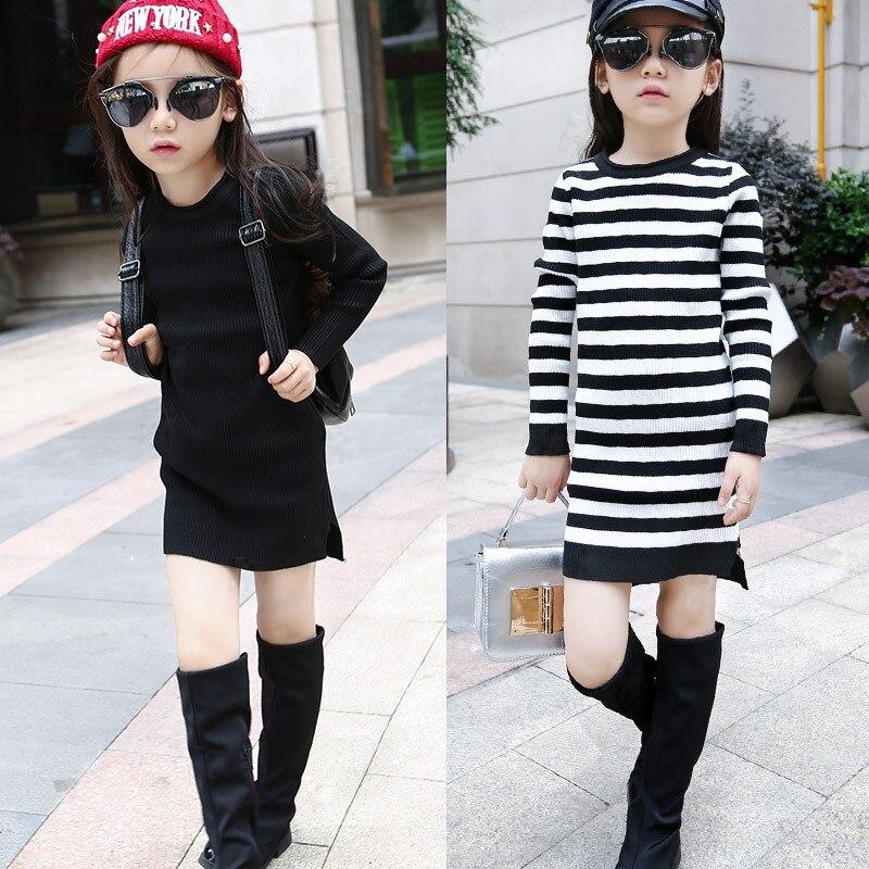 Girls Students Sweater Children s Package Hip Kids Dress Clothing Black Stripe Wool