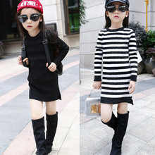 Girls Students Sweater Children's Package Hip Kids Dress Clothing Black Stripe Wool