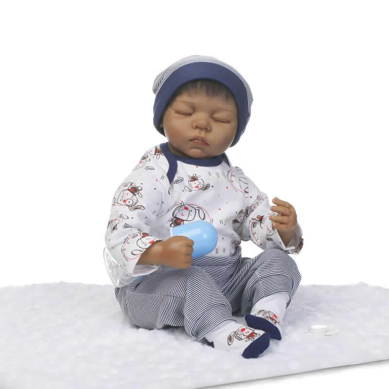 Close Eyes Silicone Model Dolls So Truly Indian Reborn Babies 22'' Boy Realistic Soft Baby Alive Doll Special Toy Kids Xmas Gift lewis l don t stand so close