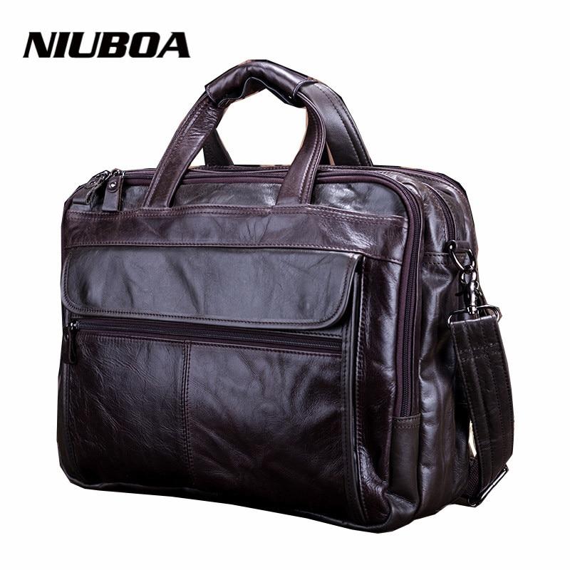 ФОТО NIUBOA New Fashion Genuine Leather Men Bag 100% Natural Cowhide Shoulder Bag Messenger Pack Causal Handbag Male Laptop Briefcase