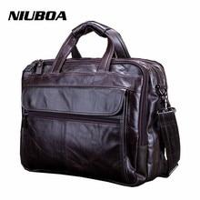 NIUBOA New Fashion Genuine Leather Men Bag 100% Natural Cowhide Shoulder Bag Messenger Pack Causal Handbag Male Laptop Briefcase