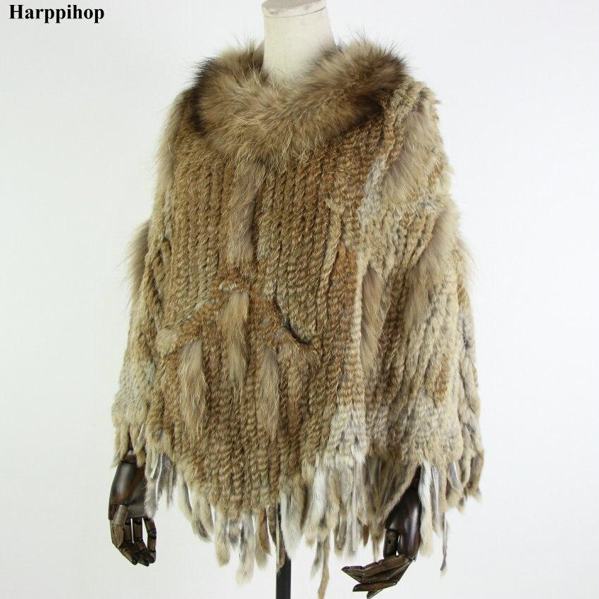 Hot Sale Women Real Natural Rabbit Fur Pashmina Casual Knitted Rabbit Fur shawl with raccoon collar Lady Real Rabbit Fur Poncho
